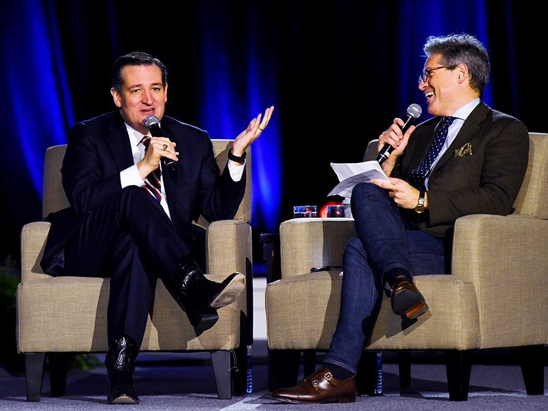 Republican U.S. presidential candidate Ted Cruz speaks with moderator Eric Metaxas at the National Religious Broadcasters Annual Convention at Oryland in Nashville