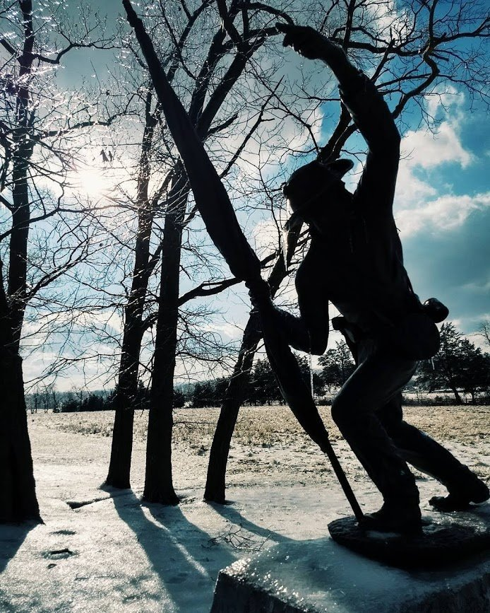 Ice covered gettysburg statue