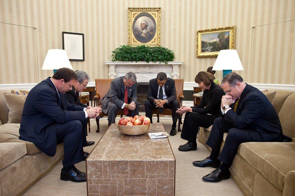 OBama in prayer
